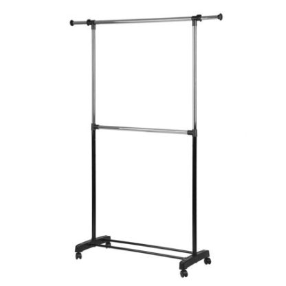 Adjustable 2-Rod Garment Rack - Rolling Clothes Organizer - Black & Chrome