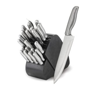 Madison and Yale 34 Pc. Stainless Steel Cutlery Set with Swivel Wood Knife Block