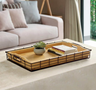 Mesa Bamboo and Metal Tray Set