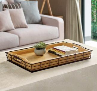 Mesa Bamboo and Metal Tray Set