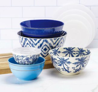 Member's Mark Melamine 10-Piece Mixing Bowl Set - Tropical Ikat