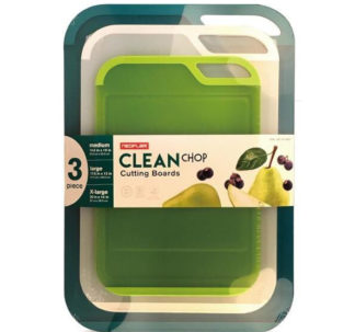 Neoflam 3 Piece Plastic Cutting Board Set - BPA Free, Non Slip, Dishwasher Safe, Microban Antimicrobial Protection