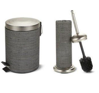 # Easy Home Decorative Waste Bin and Toilet Brush - Satin Nickel