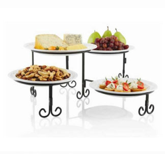 Swivel Buffet Server 4 Tier With Stoneware Platters
