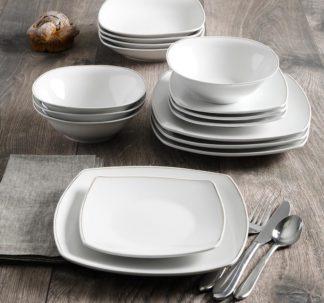 Berkley Jensen 16-Pc. Metallic Trim Dinnerware Set