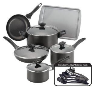 # Faberware Easy Clean Aluminum Nonstick Cookware Set, 15-pc, Black