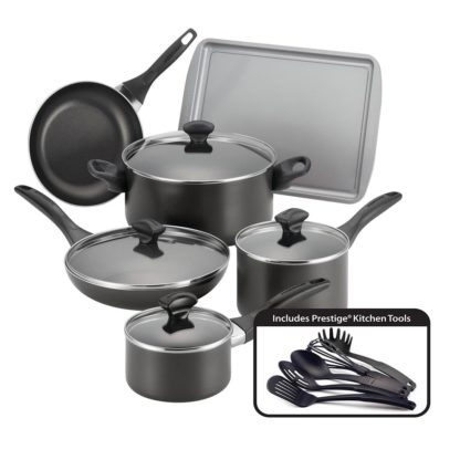 # Faberware Easy Clean Aluminum Nonstick Cookware Set, 15-pc, Black