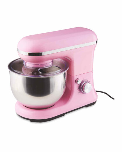 Ambiano Food Stand Mixer 800W, 5L Bowl-4-in 1 Beater, Whisk, Dough Hook and Splash Guard, Pink