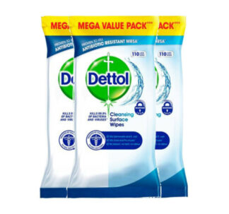 Dettol Large Wipes Kills 99.9 % of Viruses and Bacteria - 110 Pack x 3 (330 Wipes)