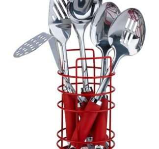 Argos Home 5 Piece Stainless Steel Utensils and Caddy