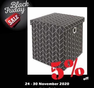 Kirkton House Storage Cube with Lid - Metallic Black