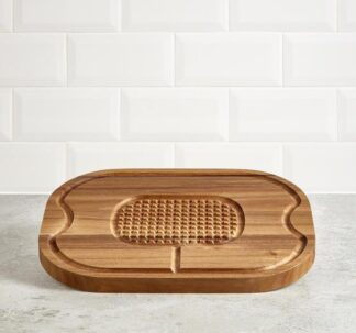 Premium Acacia Wood Carving Board with Carved Handles - 40 cm x 30 cm