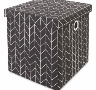 Kirkton House Storage Cube with Lid - Metallic Black