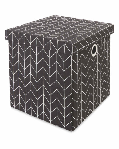 # Kirkton House Storage Cube with Lid - Metallic Black