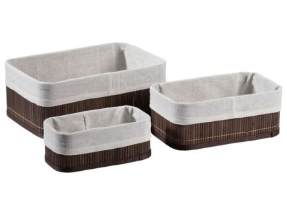 # LIVARNO LIVING bamboo storage baskets - 3 set (dark brown)