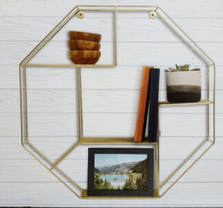 # Premium Octagon Wire Shelf - Gold