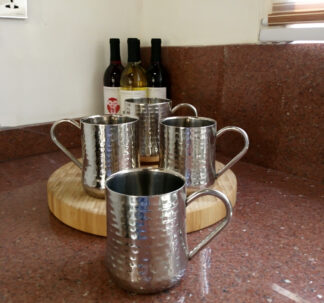 Member's Mark Double-Wall Hammered Mugs Set, 4 Pack