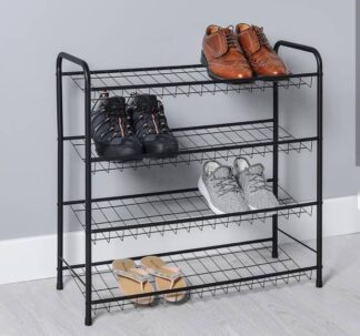 Matte Black 4 Tier Shoe Rack - Non-slide