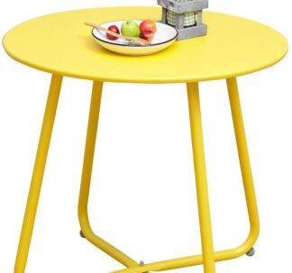 # Grand Patio Steel Patio Side Table, Yellow