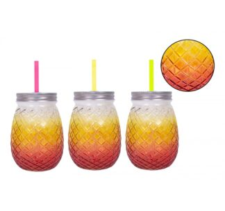 Bello Pineapple Mason Jar Glass - 450 ml