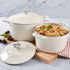 # Martha Stewart 4-Quart and 7-Quart Enamel on Cast Iron Dutch Ovens, 2 Pack- Cream