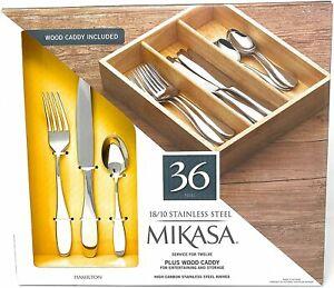 Mikasa Hamilton 36-Piece 18/10 Stainless Steel Flatware Set,Plus Wood Caddy