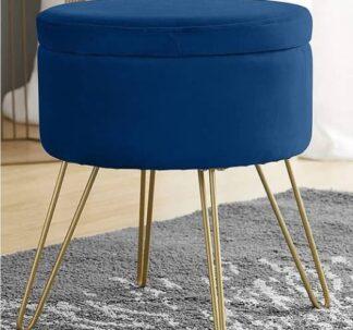 Kirkton House Velvet Coffee Table, Extra Seat, Storage Stool, Foot Rest Ottoman-Blue