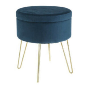 Kirkton House Velvet Storage Stool- Teal Blue