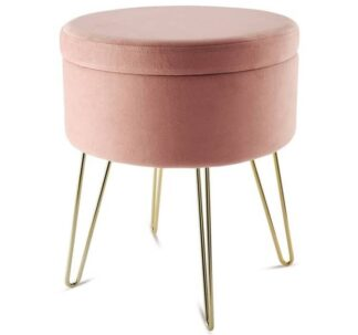 Kirkton House Velvet Coffee Table, Extra Seat, Storage Stool, Foot Rest Ottoman- Pink