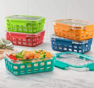 Ello 10-piece Glass Meal Prep Food Storage Container Set - 3.4 Cups each