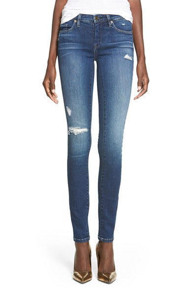 'Hotel' Distressed Skinny Jeans (Blue)