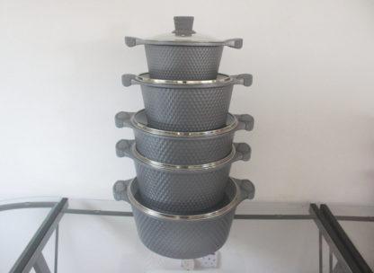 J10 Original Granite Coating Cookware Set 10 piece – grey