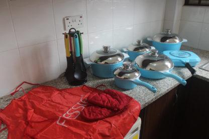 Fessle 21 pcs ceramic coated cookware set - blue