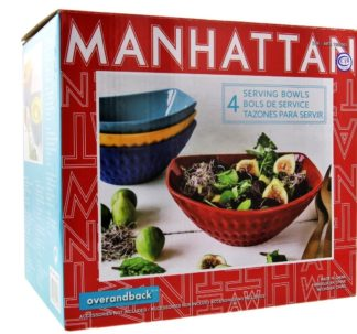 Over and Back 4 Stoneware Serving Bowls Set, Manhattan (4 Colors)