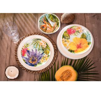 Melamine Dinnerware Tropical Design Set of 18 Pieces (White)