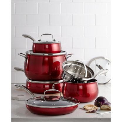 Belgique 11 Piece Quality Home Cookware Set   Non-Stick Aluminum   Red Translucent   High End Non-Stick Cookware
