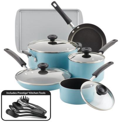 Faberware Easy Clean Aluminum Nonstick Cookware Set, 15-pc, AQua