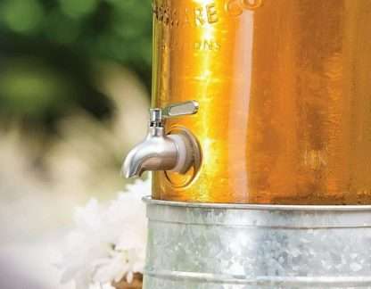 Glass Beverage Dispenser with Galvanised Ice Bucket stand