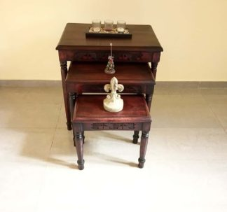 3-set Hand Carved Redwood Nesting Tables - Round Legs