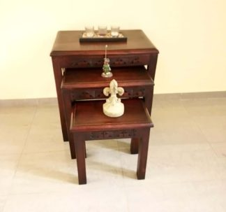 3-set Hand Carved Redwood Nesting Tables - Square Legs