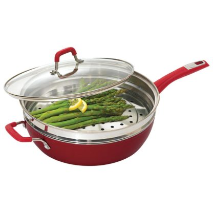 "Bialetti Aeternum 12"" Deep Saute Pan with Stainless Steel Steamer Insert"