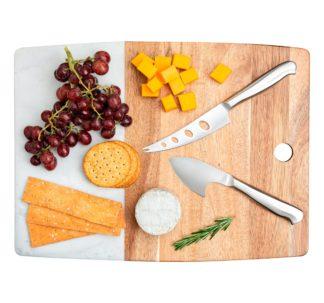 Core Home Acacia & Marble Cheese Board 3-piece Set