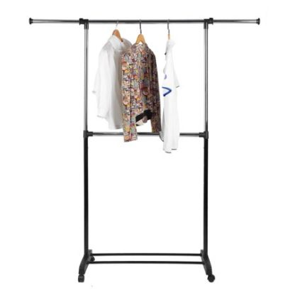 Adjustable 2-Rod Garment Rack - Rolling Clothes Organizer - Black & Chrome