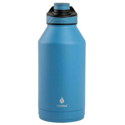 Manna Convoy Double Wall Vacuum Insulated Leakproof Lid Water Bottle   Blue   1.89 L   18/8 Stainless Steel  Keeps Liquid Cold Up to 24 Hrs Hot up to 12 hrs   BPA Lead Free
