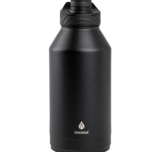 # Manna Convoy Double Wall Vacuum Insulated Leakproof Lid Water Bottle   Black   1.89 L   18/8 Stainless Steel  Keeps Liquid Cold Up to 24 Hrs Hot up to 12 hrs   BPA Lead Free