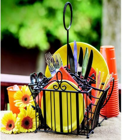 Portable Wrought Iron Utensil Caddy