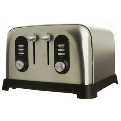 Sainsbury Stainless Steel 4-Slice Toaster with Defrost Feature