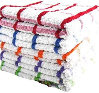 Home Style Giant Jumbo Sized Kitchen Checkered Towels - Assorted Colour (Pack of 6)