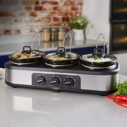 Tower Three Pot Slow Cooker, Food Warmer and Buffet Server, 300 W, 3 x 1.5 Litre Cooking Pots, Black