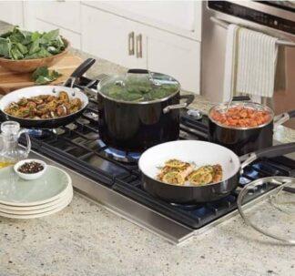 Calphalon Non Stick Deluxe Ceramic Cookware Set, 12 pc. Oven Safe.